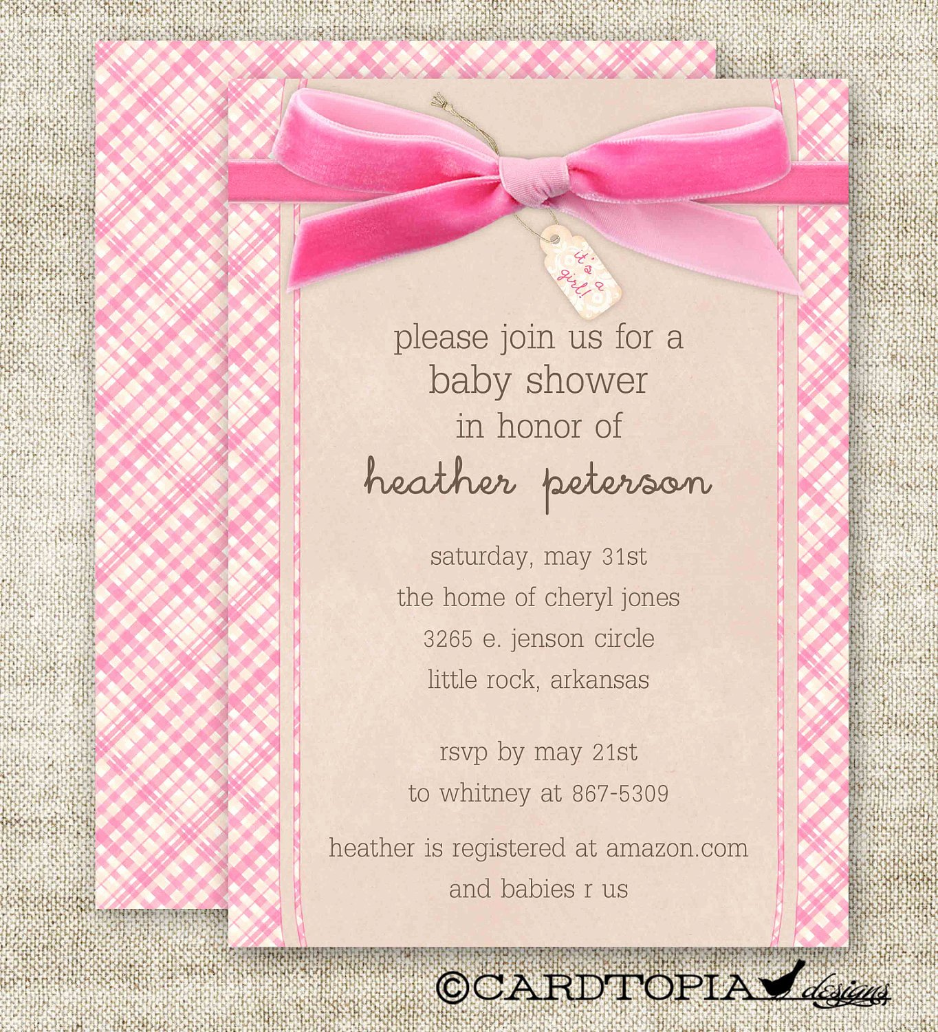 Girl Baby Shower Invitations Plaid Bow It S A Girl Digital