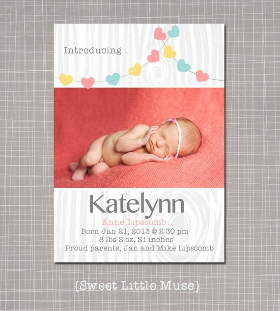 Girl Birth Announcement Template for by Sweetlittlemuse On