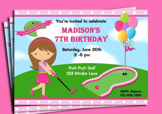 Girl S Golf Invitation Printable or Printed with Free