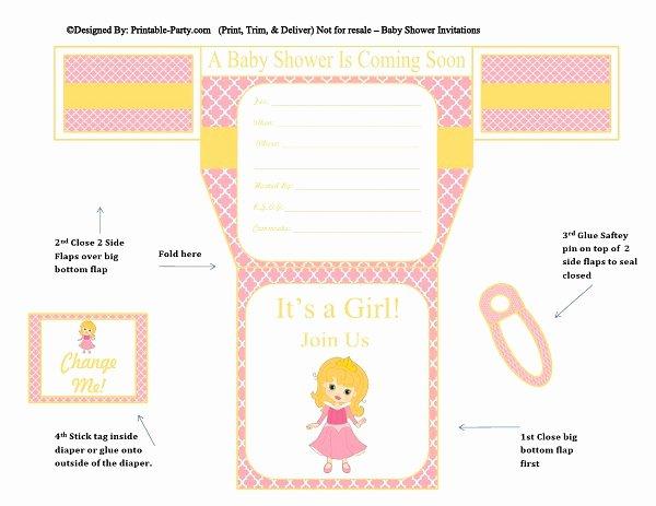 Girls Diaper Baby Shower Invitations