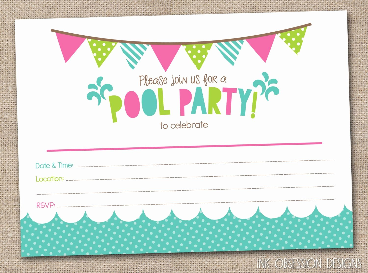 Girls Pool Party Printable Invitation Fill by