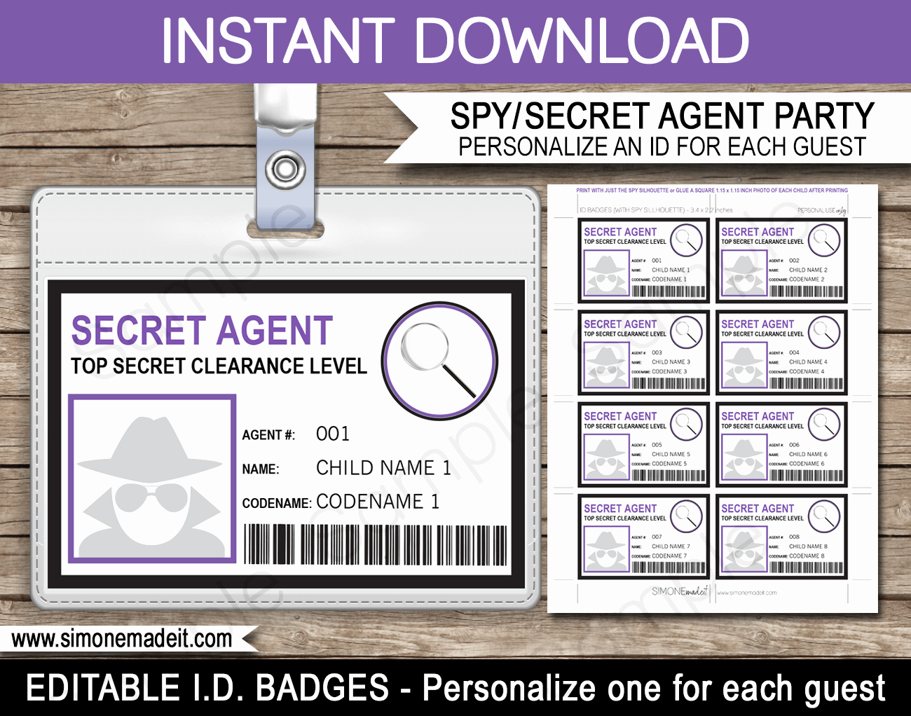 Girls Secret Agent Badge Template Spy Badge