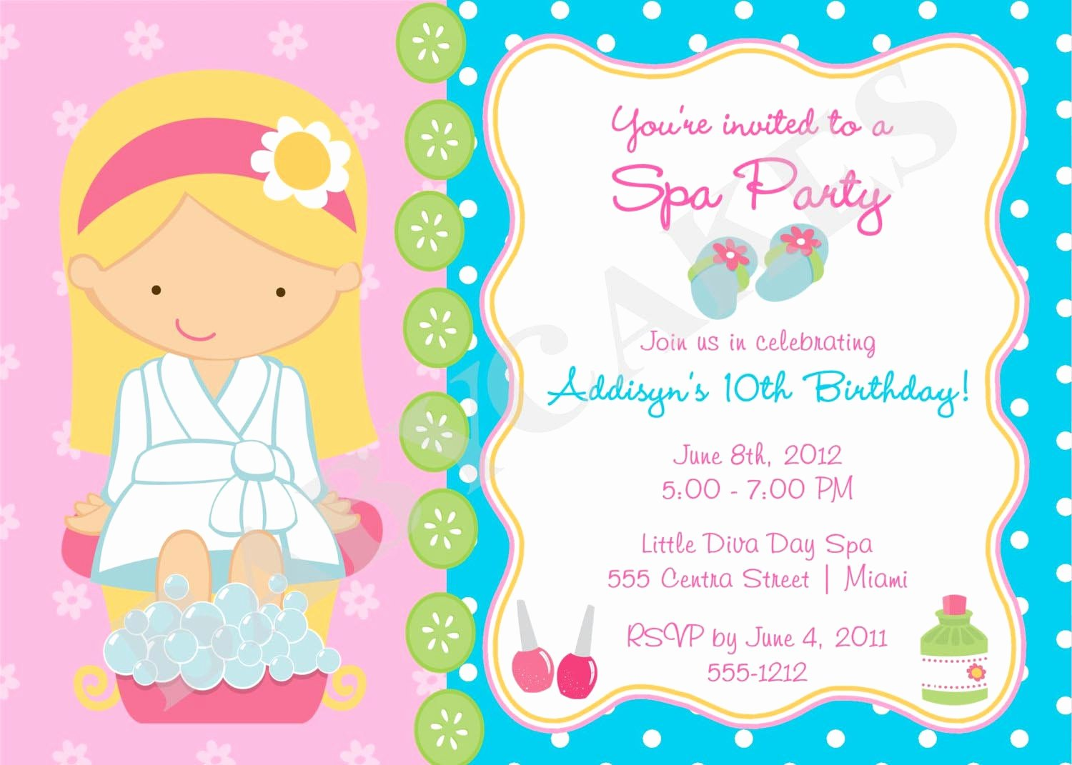Girls Spa Birthday Party Invitations