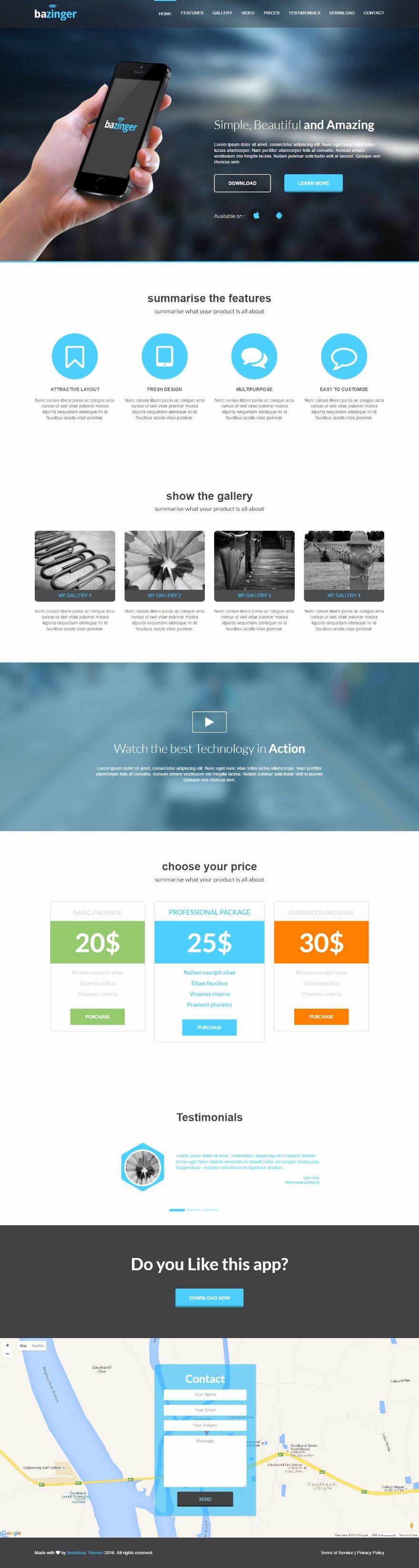 Github Bootstrapthemesco Bazinger Landing Page Template