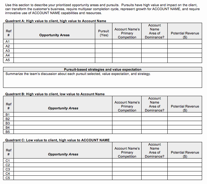 Go to Market Strategy Strategic Account Plan Template