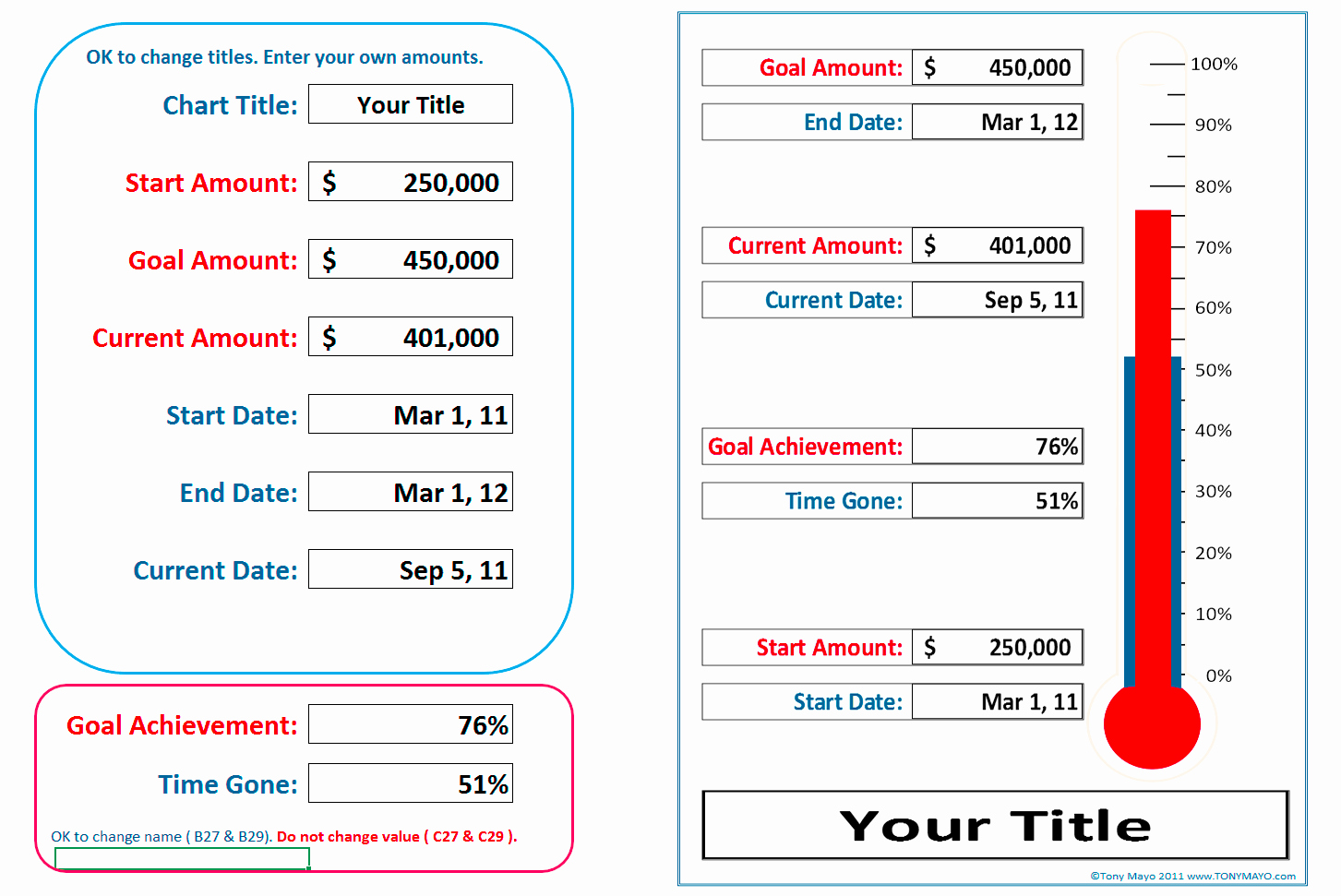 Goal thermometer Template Excel