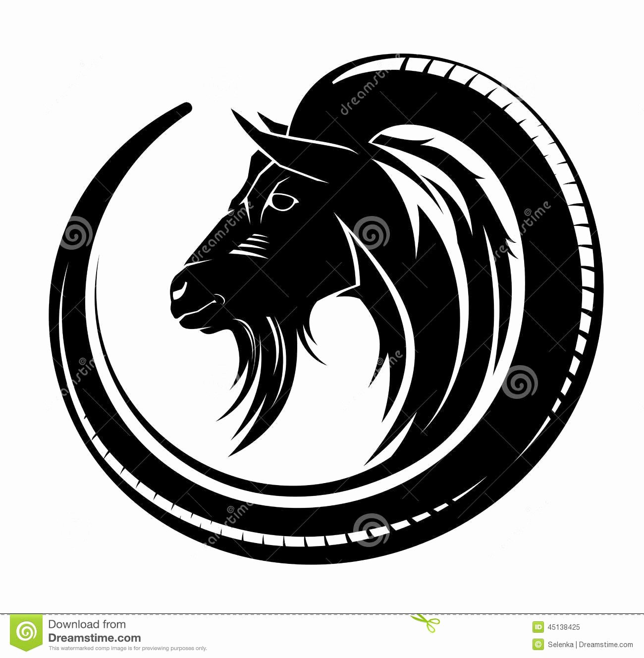 Goat Tribal Tattoo Stock Vector Image