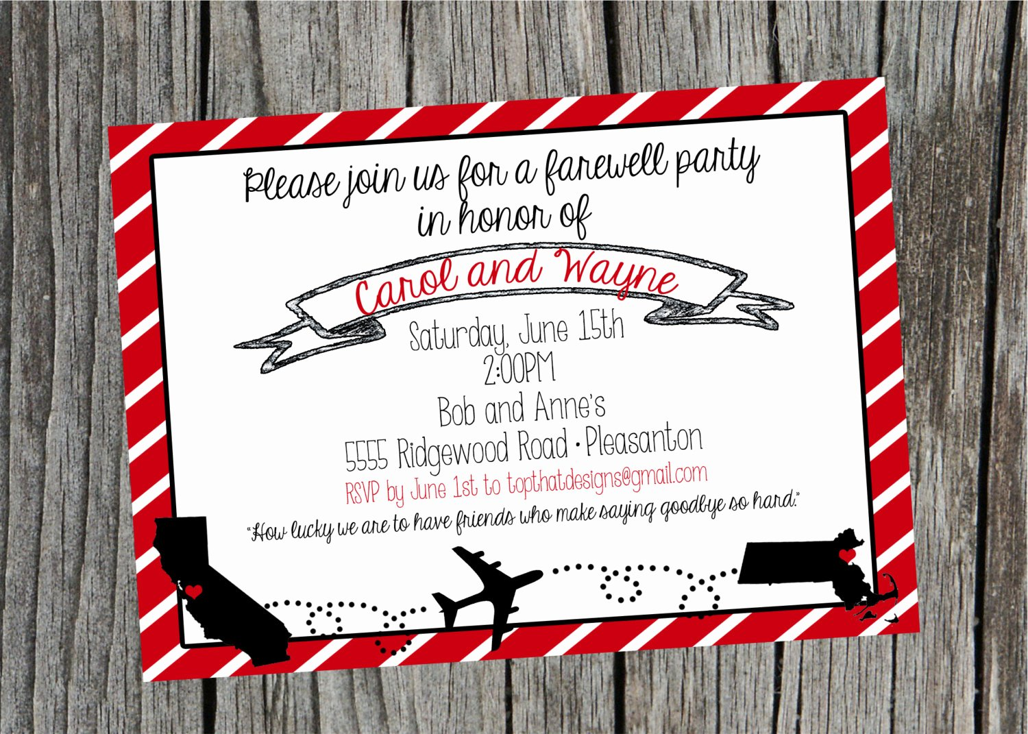 Going Away Moving Party Invitation Digital File