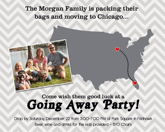 Going Away Party Invitation Moving Farewell Party