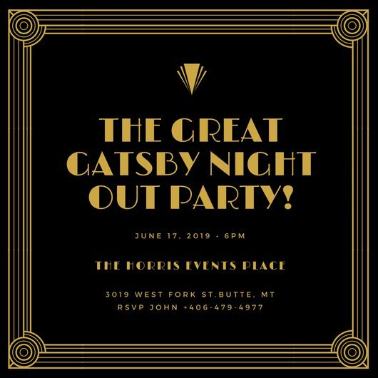 Gold and Black Bordered Great Gatsby Invitation