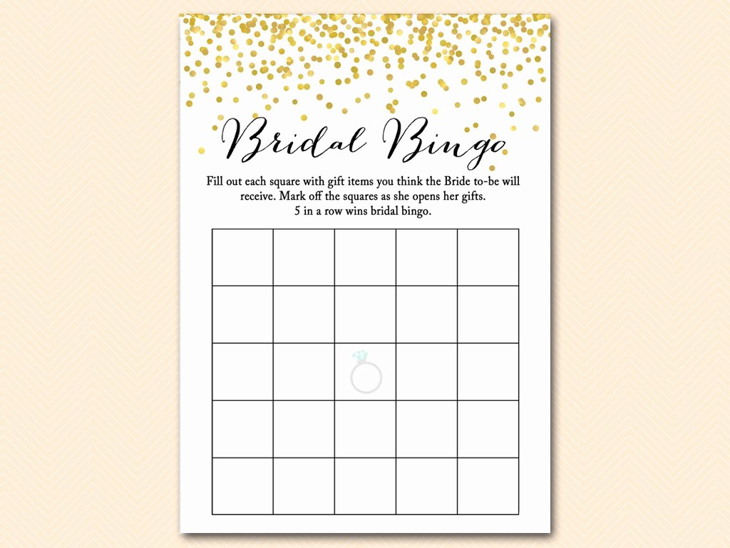gold confetti bridal shower game set