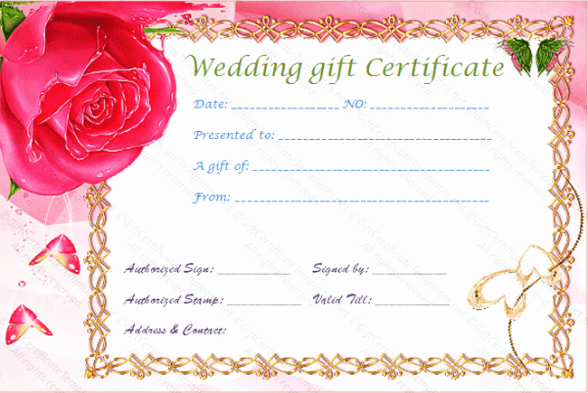 Gold Frame Wedding T Certificate Template