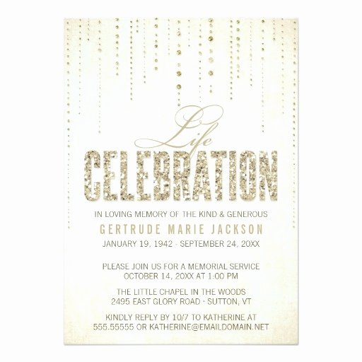 Gold Glitter Look Memorial Service Invitation