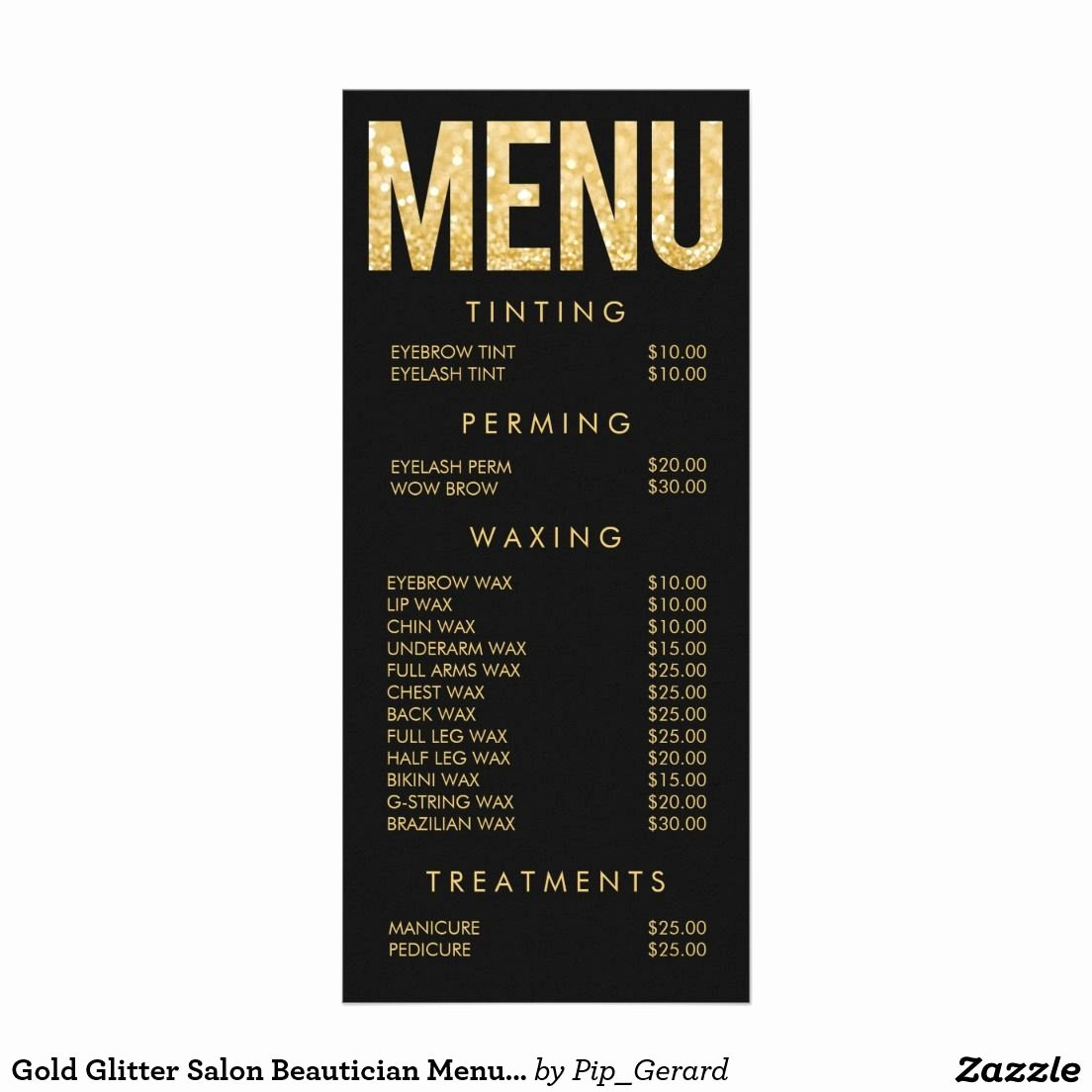 Gold Glitter Salon Beautician Menu Price List