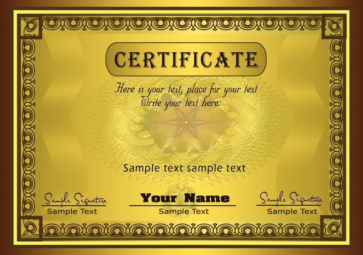 Gold Printable Free Diploma Certificate Template