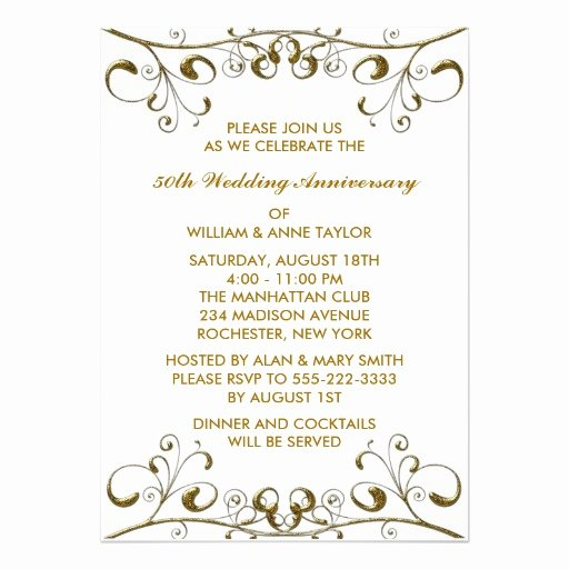 "Gold Swirls 50th Wedding Anniversary Invitations 5"" X 7"