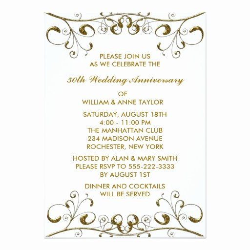 Gold Swirls 50th Wedding Anniversary Invitations