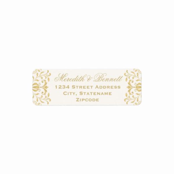 Gold Vintage Glamor Return Address Labels Luxury Wedding