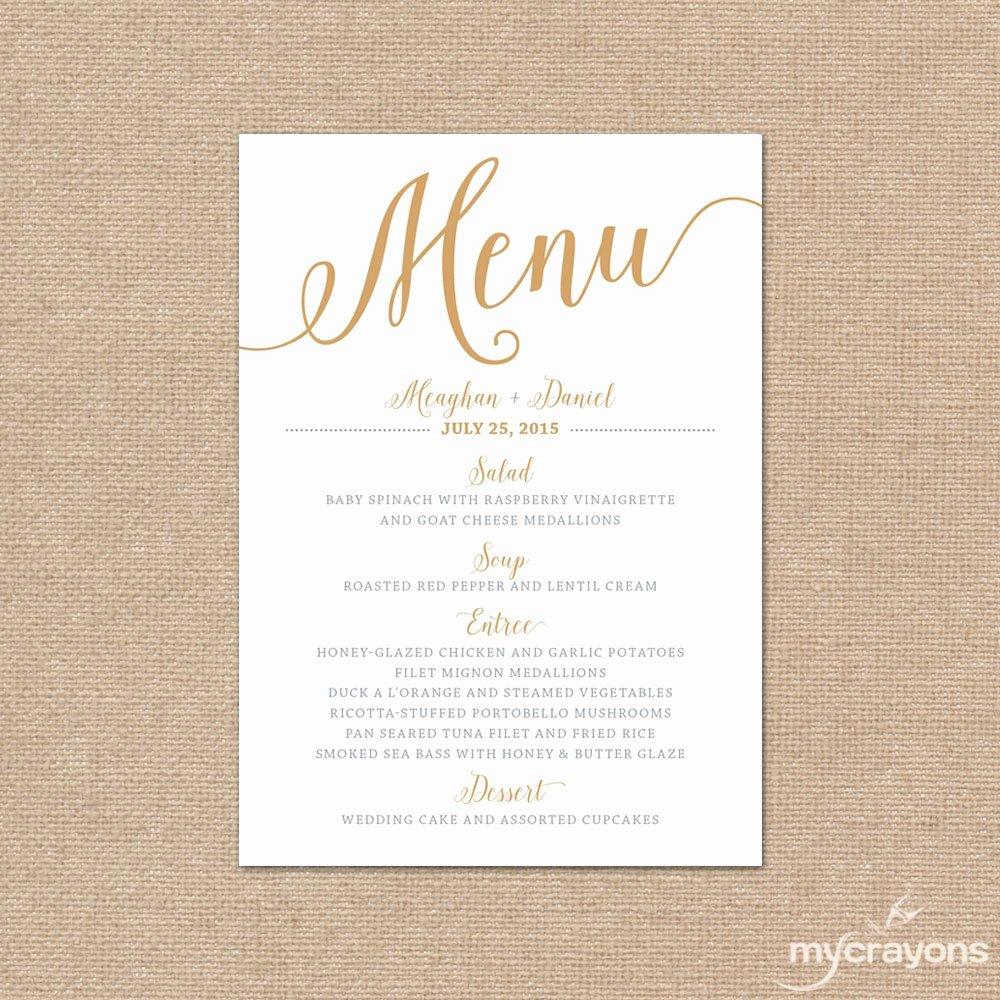 Gold Wedding Menu Card Printable Wedding Menu Bella Script
