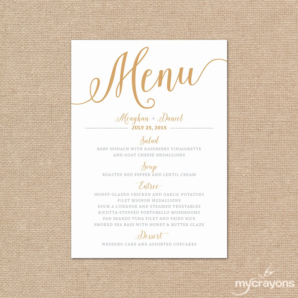 Gold Wedding Menu Card Printable Wedding Menu Bella Script
