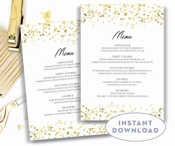 Gold Wedding Menu Template 5x7 Editable Text Microsoft Word