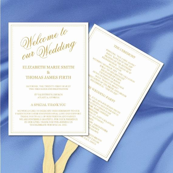 Gold Wedding Program Fan Template Modern Elegant Calligraphy