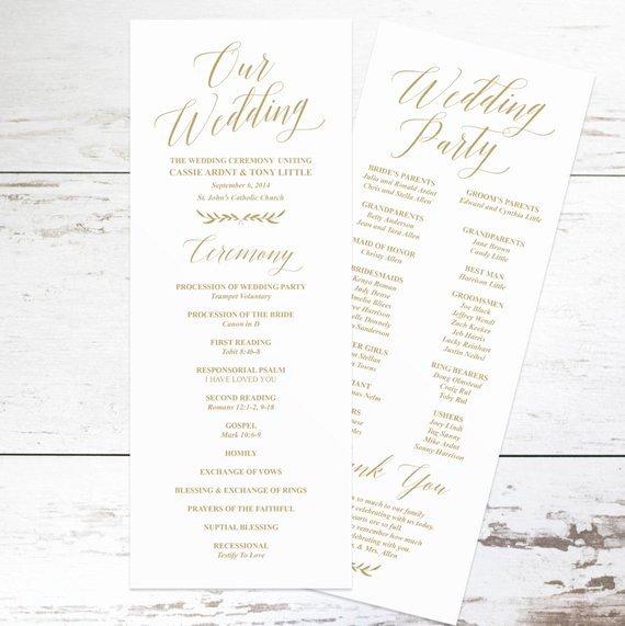Gold Wedding Programs Wedding Program Template Rustic