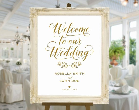 gold wedding wel e sign template