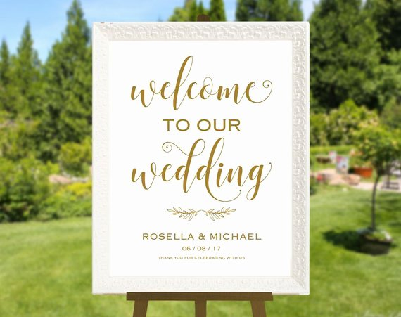 Gold Wedding Wel E Sign Template Wel E to Our Wedding