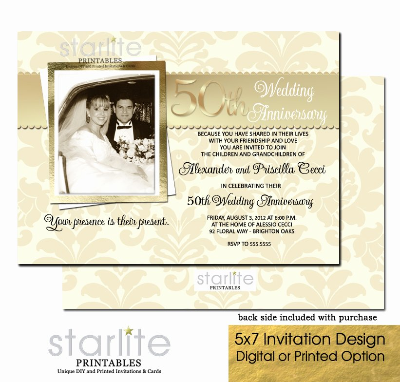 Golden 50th Wedding Anniversary Invitation 50th