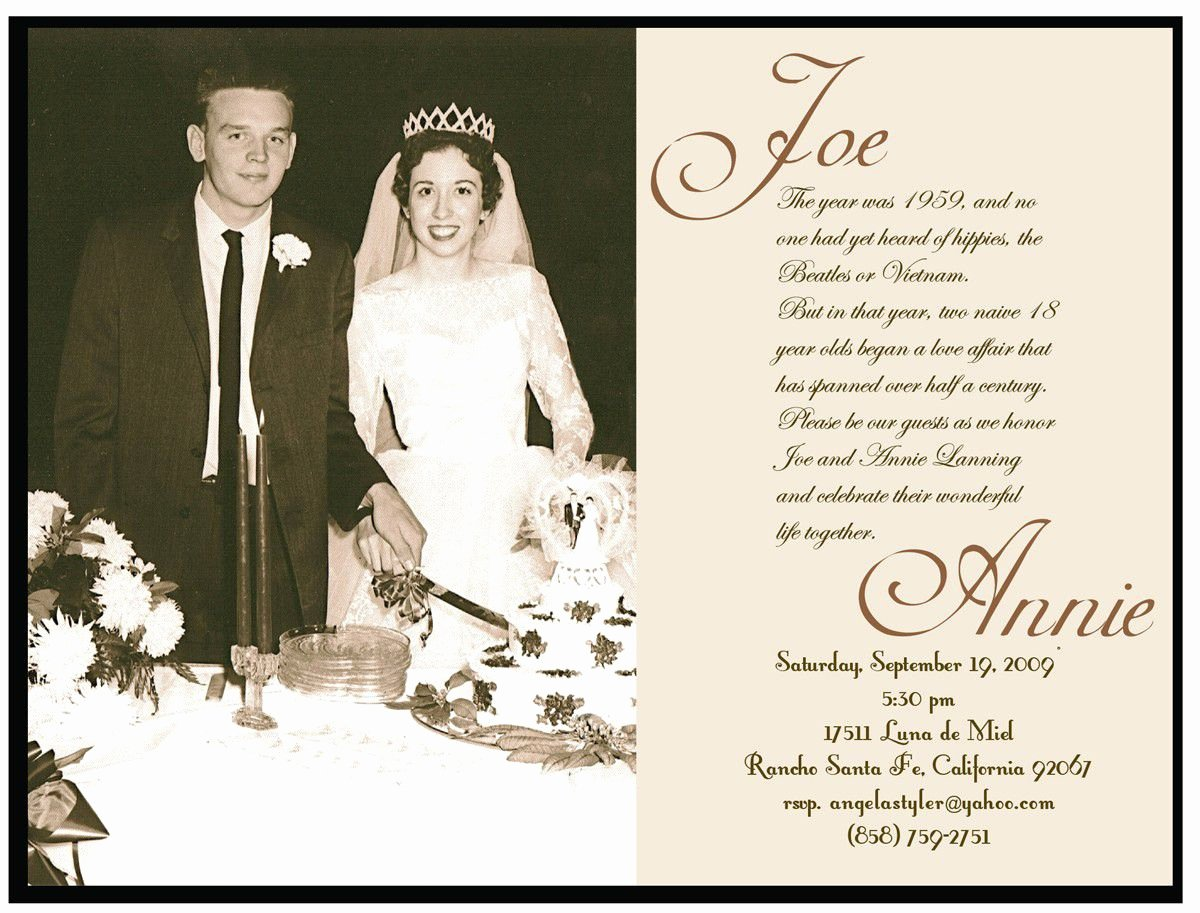 Golden Wedding Anniversary Invitation Golden Wedding