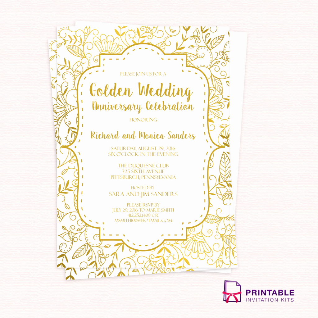 Golden Wedding Anniversary Invitation Template ← Wedding