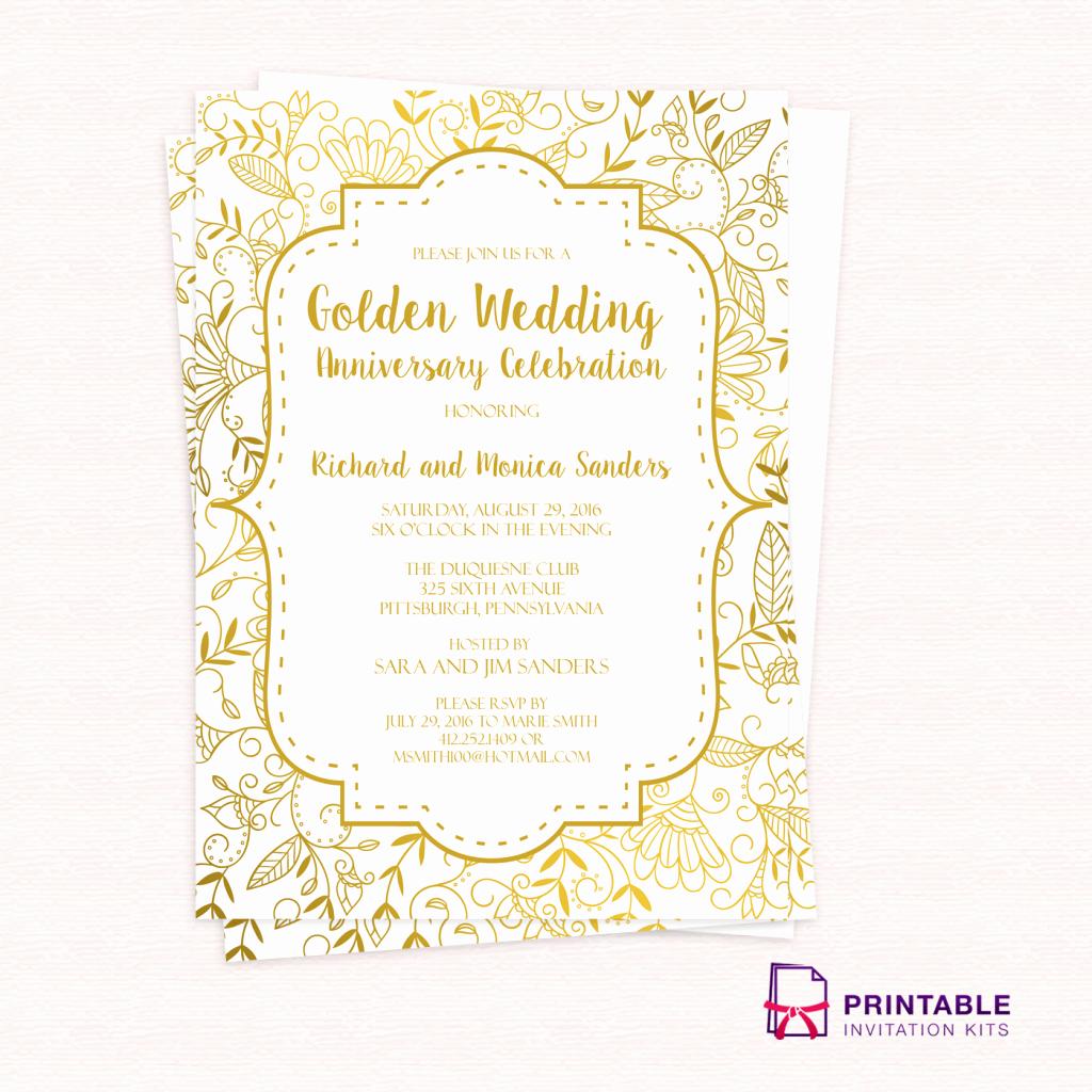 Golden Wedding Anniversary Invitation Template ← Wedding