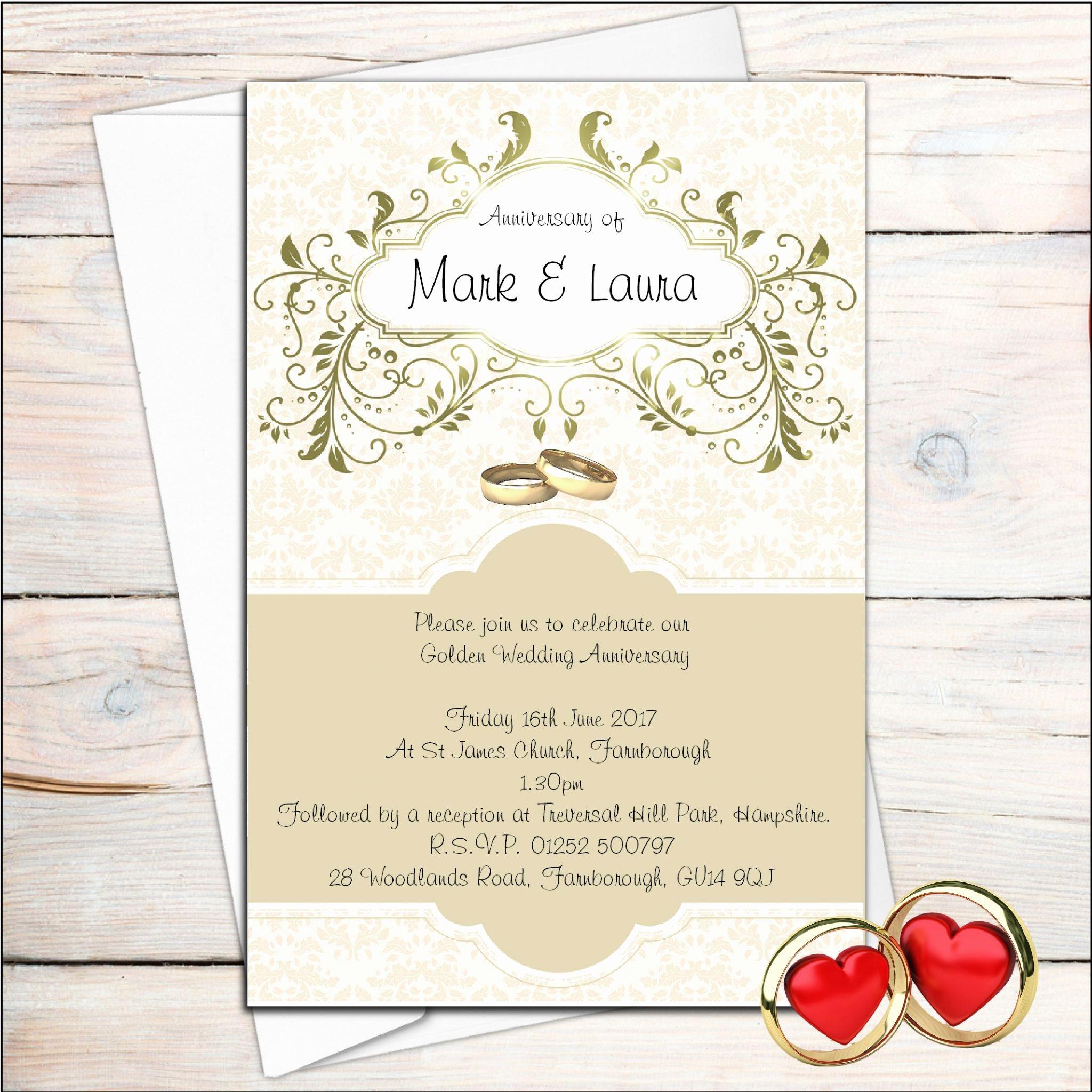 Golden Wedding Anniversary Invitations 50th Wedding