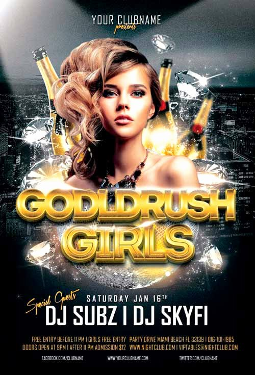 Goldrush Girls Club Flyer Template for Shop