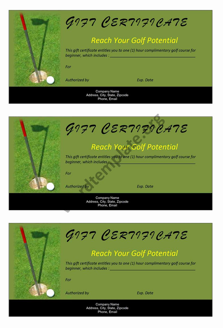Golf Gift Certificate Template