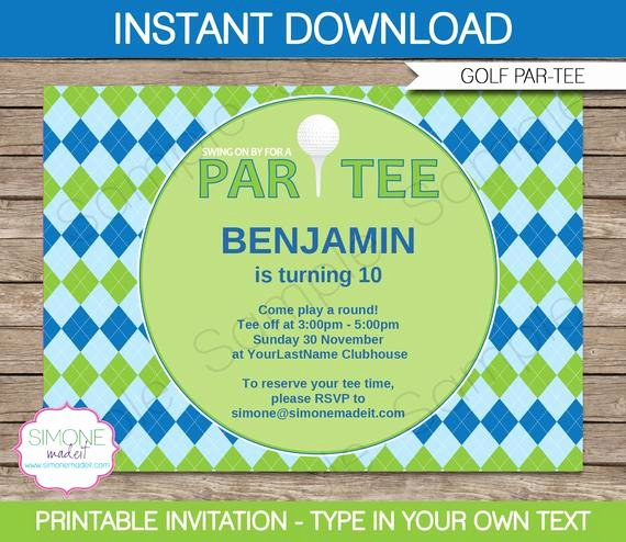 Golf Invitation Template Birthday Party Instant Download