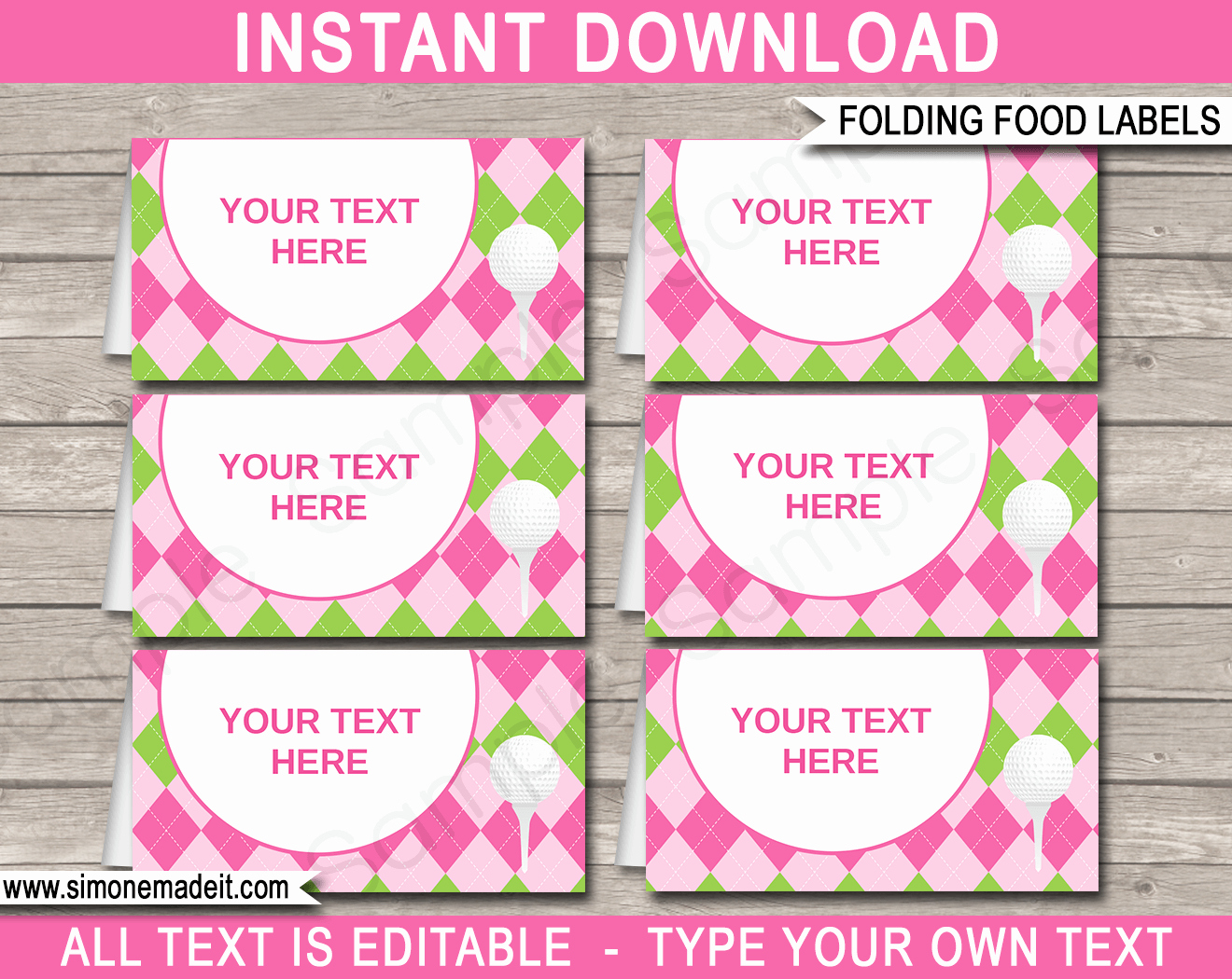 Golf theme Food Labels Place Cards