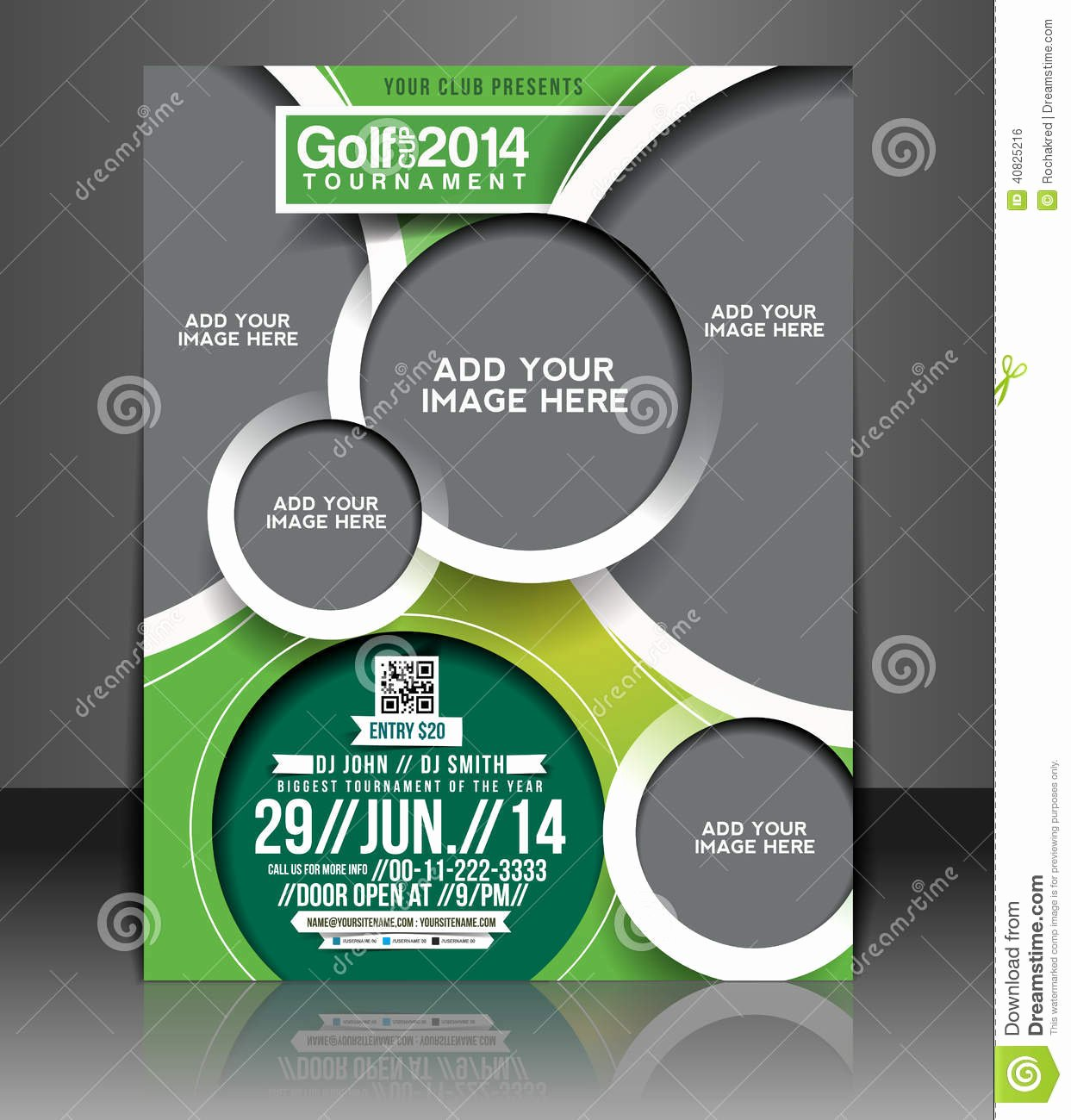 Golf tournament Flyer Design Stock Vector Image