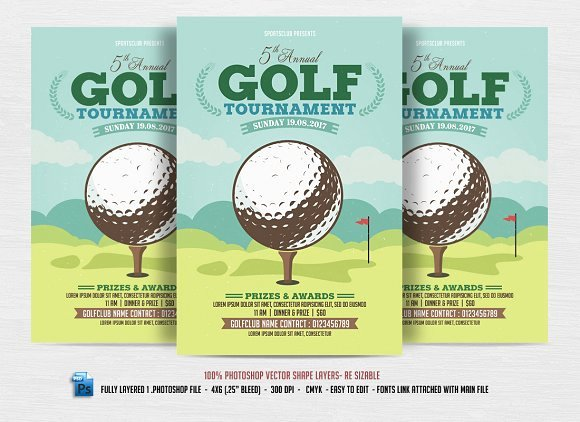Golf tournament Flyer Flyer Templates Creative Market