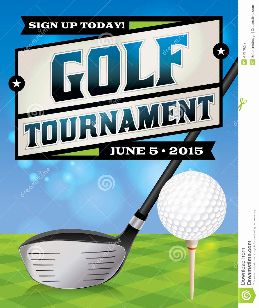 Golf tournament Flyer Illustration Stock Vector Image