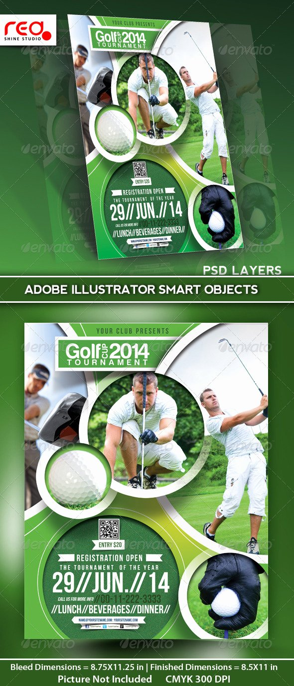 Golf tournament Flyer Poster Magazine Template by