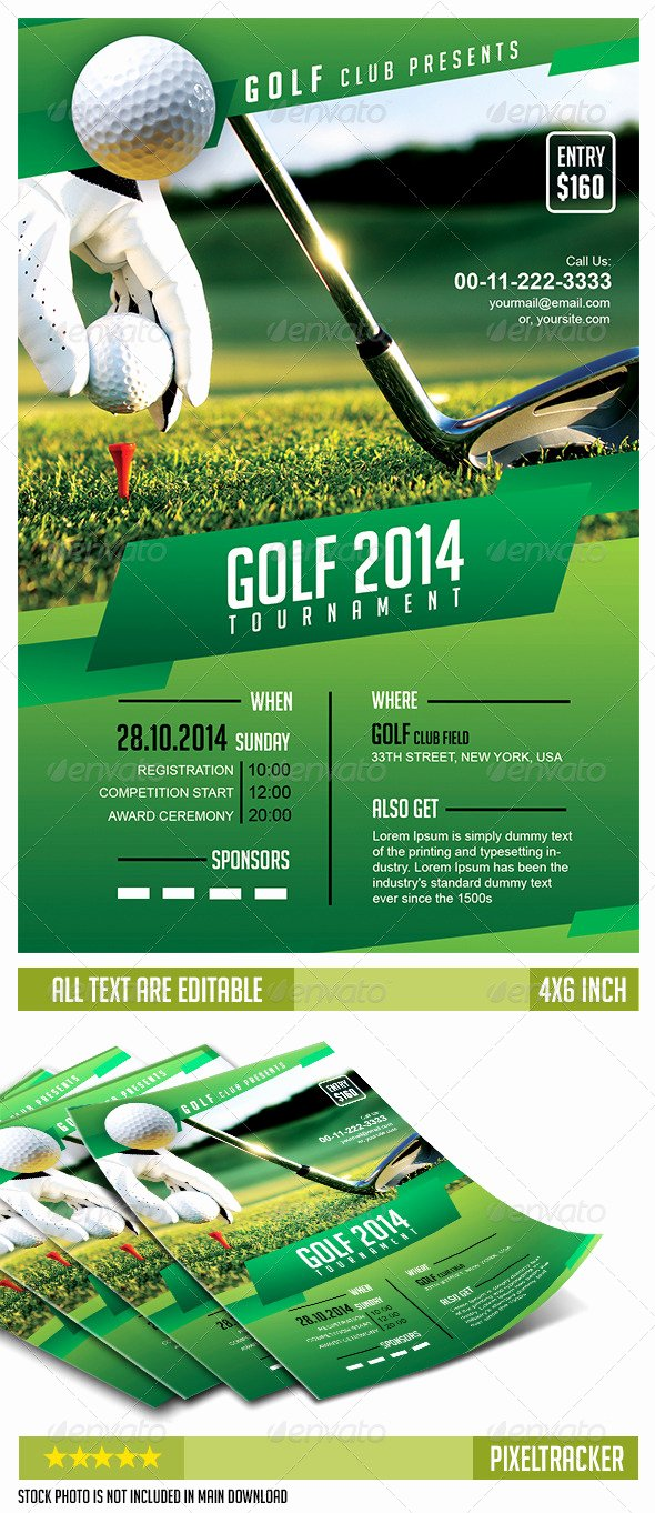 Golf tournament Flyer Template No Model Required Download