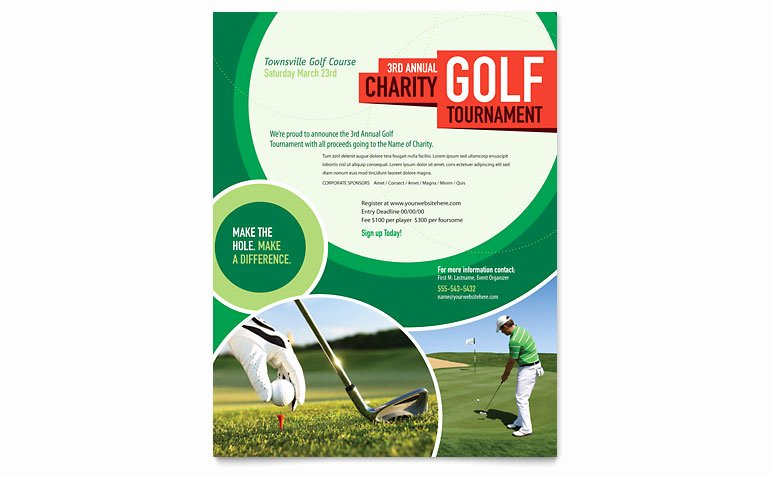 Golf tournament Flyer Template Word & Publisher