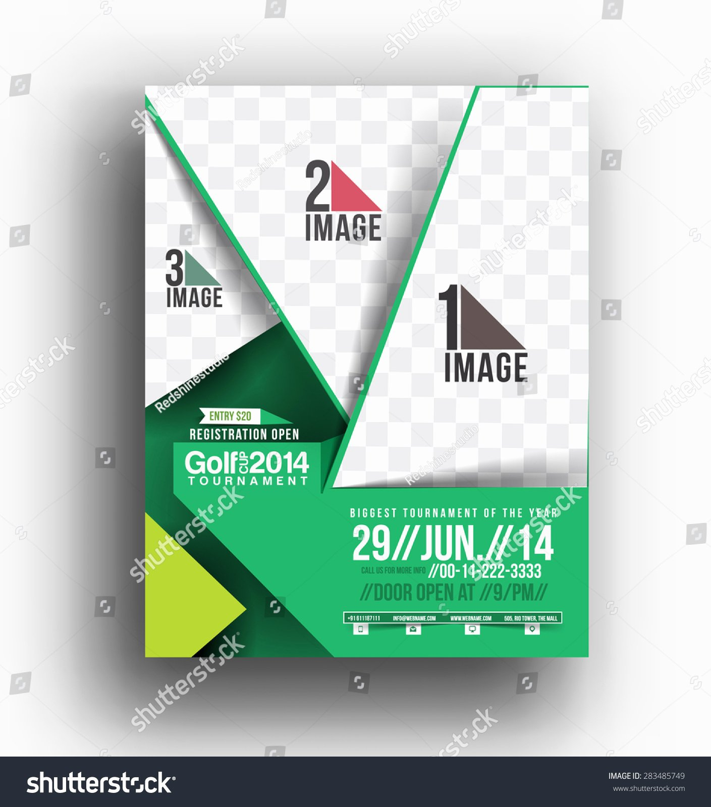 Golf tournament Front Flyer Poster Template Stock Vector