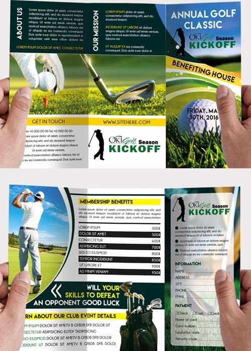 Golf tournament Premium Tri Fold Psd Brochure Template