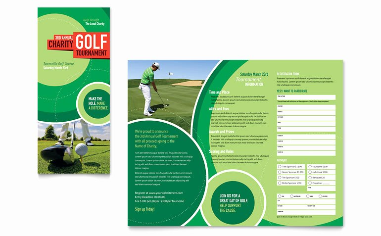 Golf tournament Tri Fold Brochure Template Word & Publisher