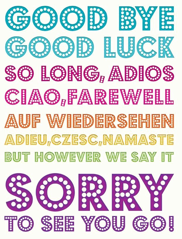Good bye & Good Luck Multilingual Flittered to Add to