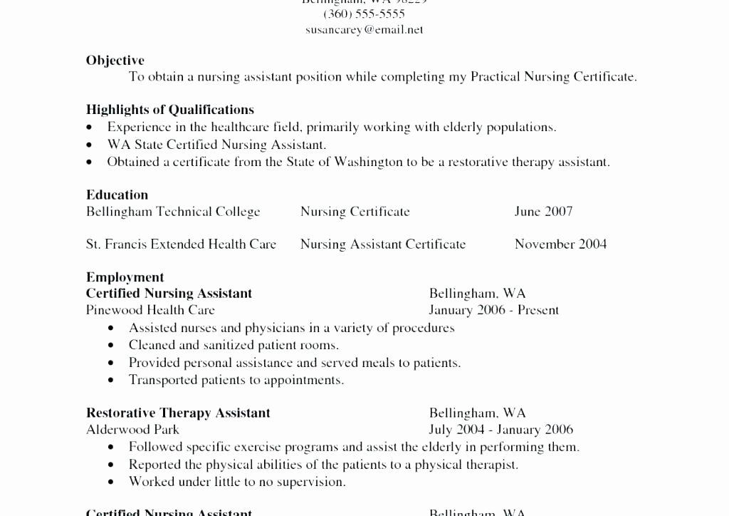 Good Cna Resume Examples Sample Nursing – Lesom