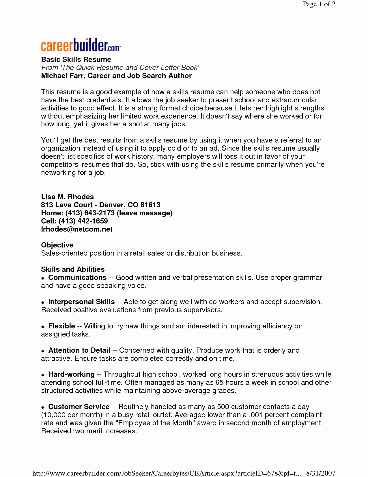 Good Ideas for Resume Skills Sidemcicek